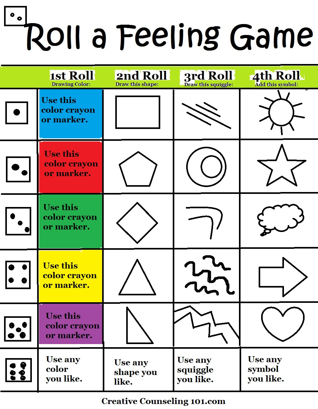 Free Printable Counseling Worksheets Beyond Art therapy Roll A Feelings Game