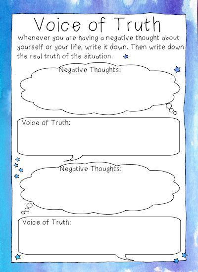 Free Printable Counseling Worksheets Free Printable Voice Of Truth Cbt Style Worksheets for