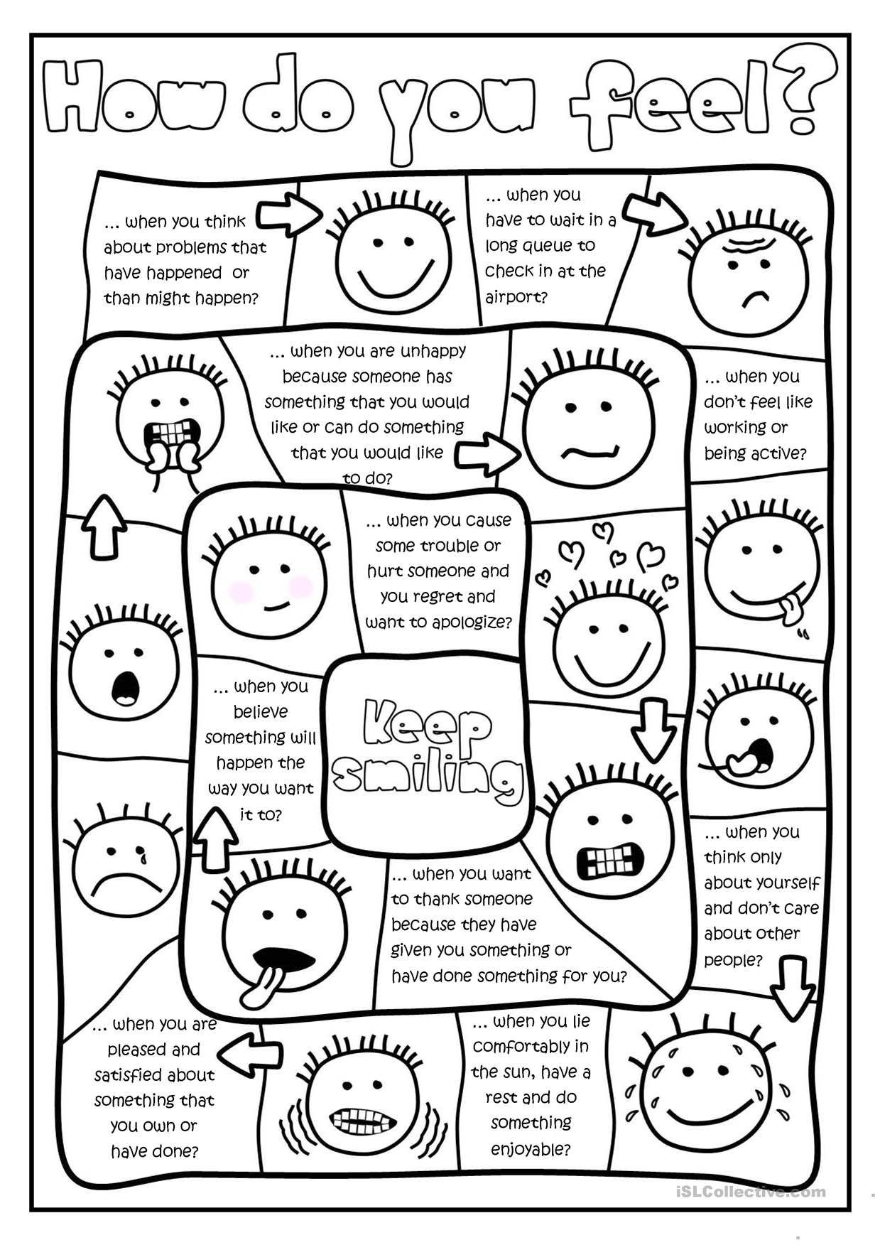 Free Printable Counseling Worksheets Free Printables and Activities Feelings Emotions social