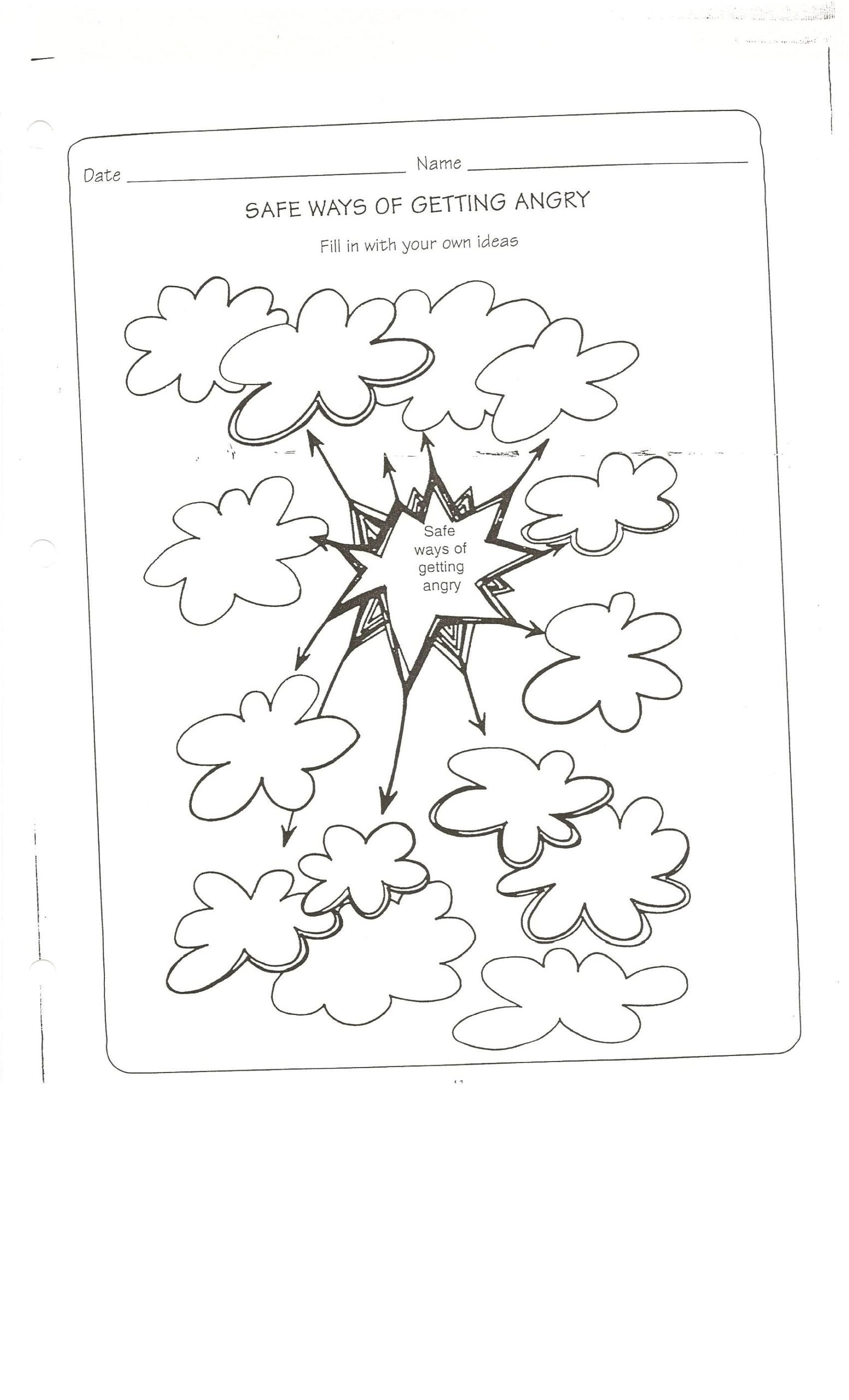 Free Printable Counseling Worksheets Safe Way to Get Angry Worksheet Conflict Resolution Coping