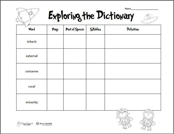 free printable of the week exploring the dictionary grades 2 4