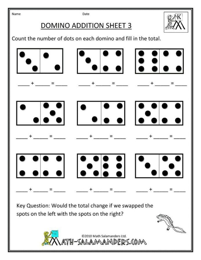 Free Printable Domino Math Worksheets Addition and Subtraction Worksheets for Kindergarten Free