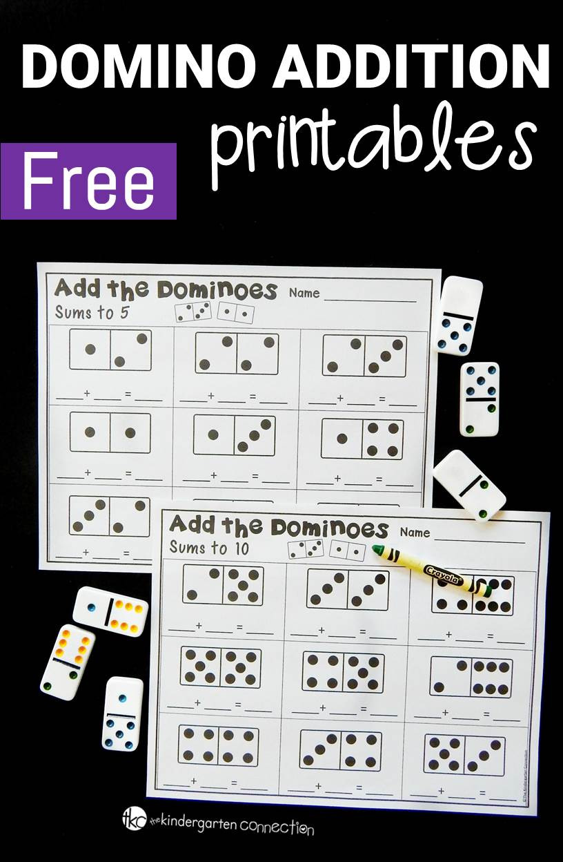 Free Printable Domino Math Worksheets Domino Addition Printables the Kindergarten Connection