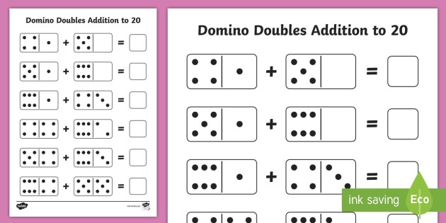 Free Printable Domino Math Worksheets Domino Doubles Addition to 20 Worksheet Teacher Made