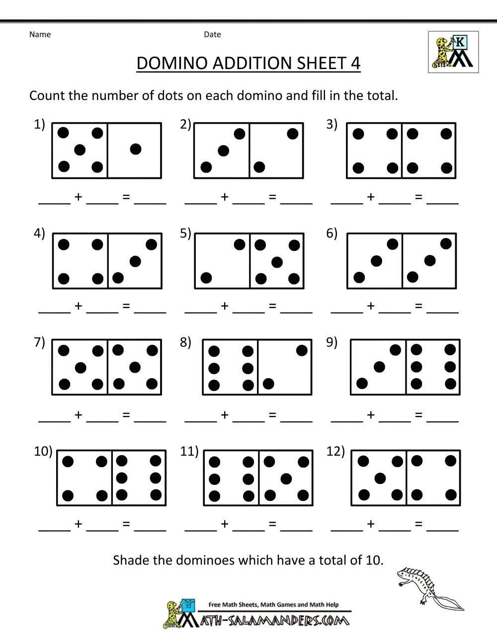 Free Printable Domino Math Worksheets Math Worksheet Math Addition Games for First Grade Free