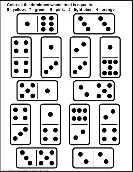 Free Printable Domino Math Worksheets Number Bonds to 8 Free Math Worksheets