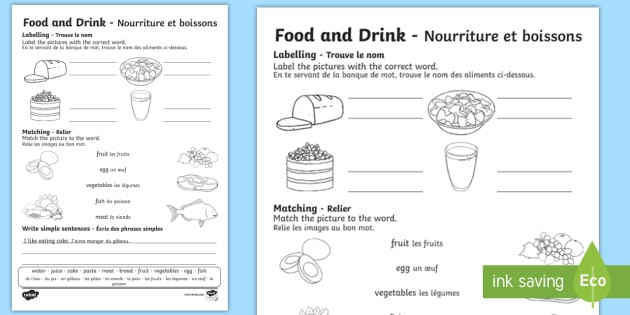 Free Printable French Worksheets Food and Drink Worksheet English French Worksheets Fr