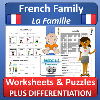 Free Printable French Worksheets French Family Worksheets La Famille by Fullshelf Resources
