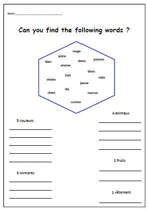 Free Printable French Worksheets French Language Worksheet Printable French Words