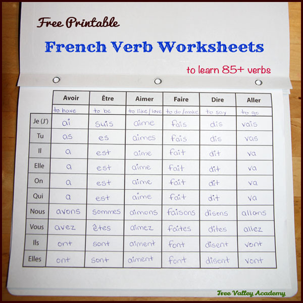 Free Printable French Worksheets French Verb Worksheets