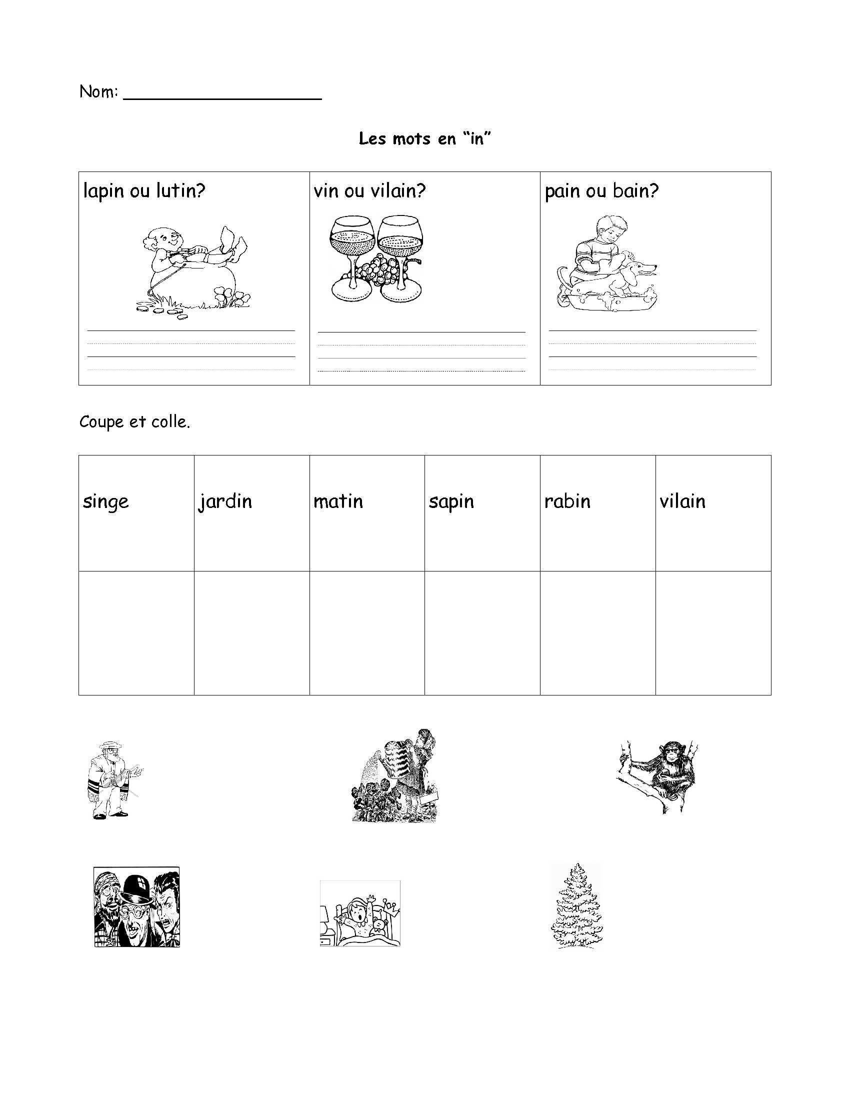 Free Printable French Worksheets Worksheet Printable Worksheets for Grade Worksheet French