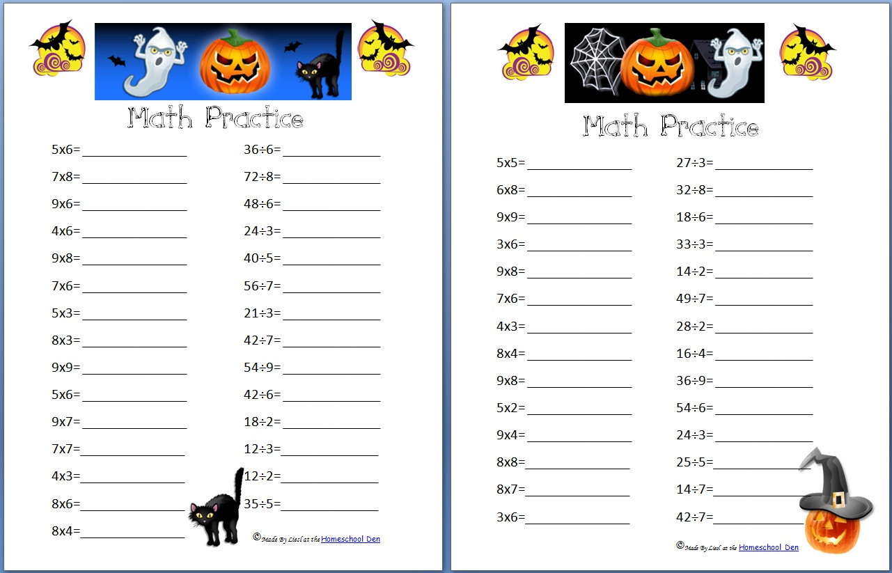 Free Printable Halloween Maths Worksheets Free Halloween Math Practice Pages Multiplication Division