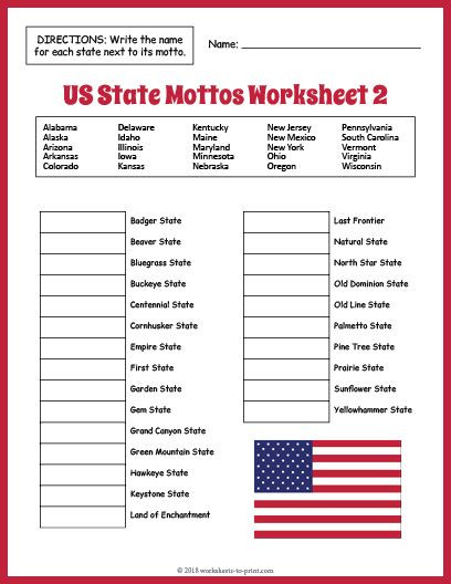 Free Printable History Worksheets Free Us State Mottos Worksheet 2
