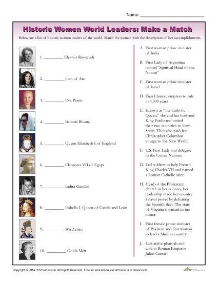 Free Printable History Worksheets Women History Month Worksheet Historic World Leaders