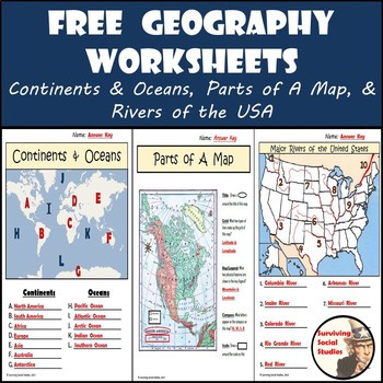 Free Printable Map Worksheets Free Geography Worksheets Great Printables for Distance Learning
