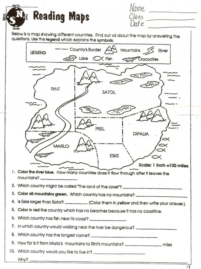 Free Printable Map Worksheets Map Skills Worksheets to Printable Free at Math In Grade