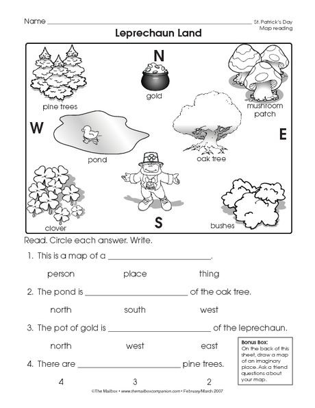 Free Printable Map Worksheets St Patrick S Day Worksheet Reading A Map the Mailbox