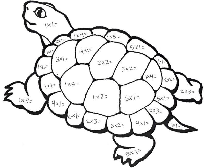 Color By Number Multiplication Turtle