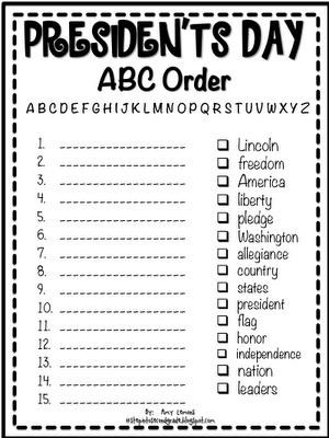 Free Printable Presidents Day Worksheets President S Day Abc order Printable – Supplyme
