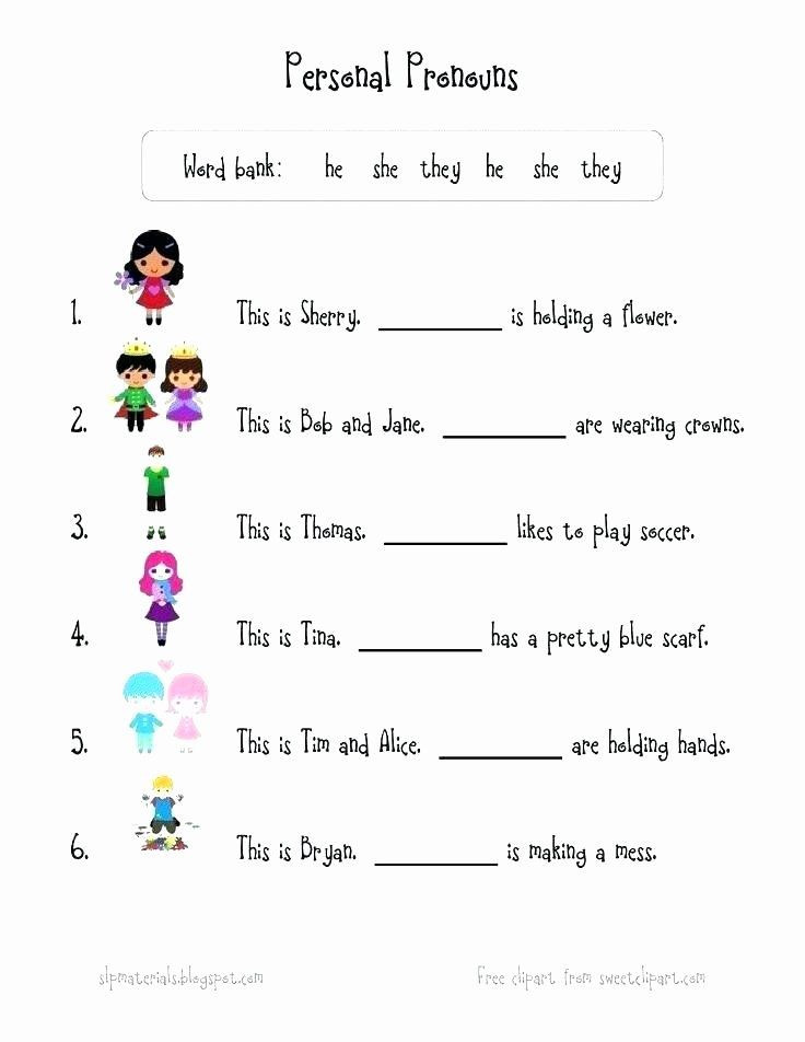 Free Printable Pronoun Worksheets Pronoun Worksheets for Kindergarten Free He and She