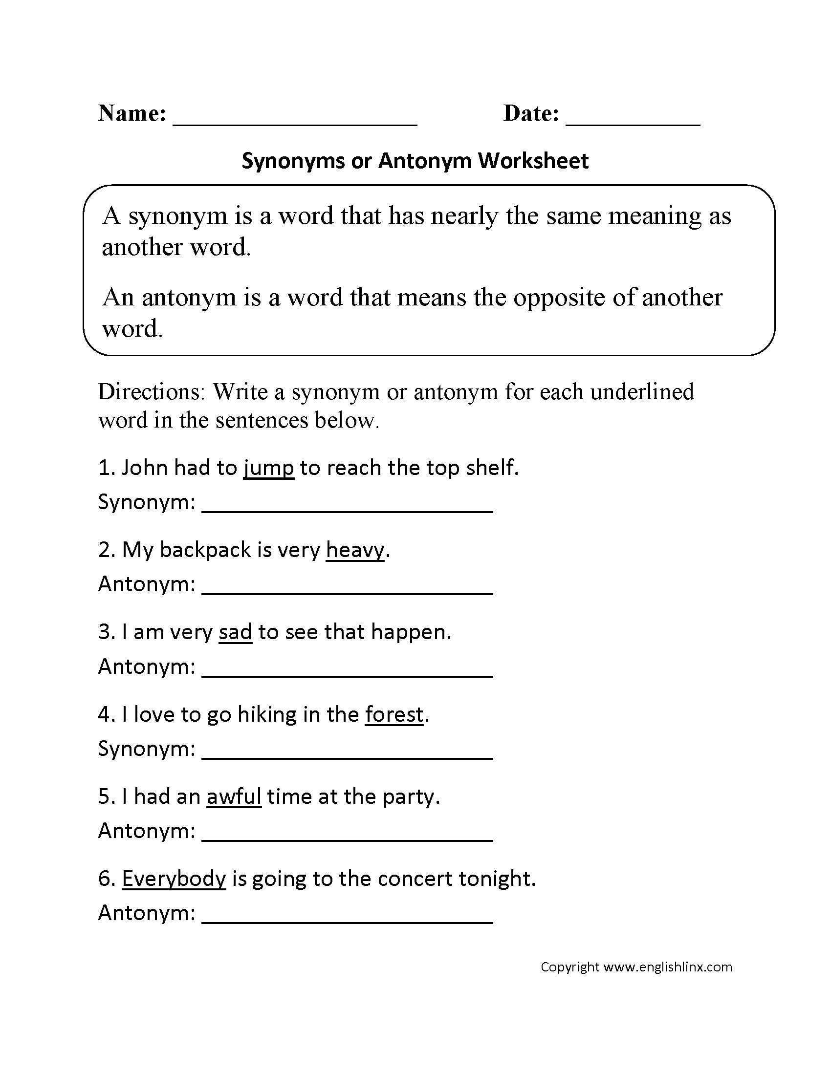 Free Printable Synonym Worksheets Antonyms Synonyms Homonyms Worksheets