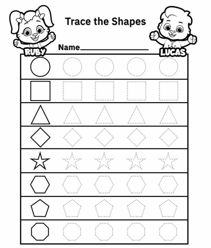 Free Printable Tracing Shapes Worksheets Dotted Shapes to Trace Worksheet Free Printable Worksheets