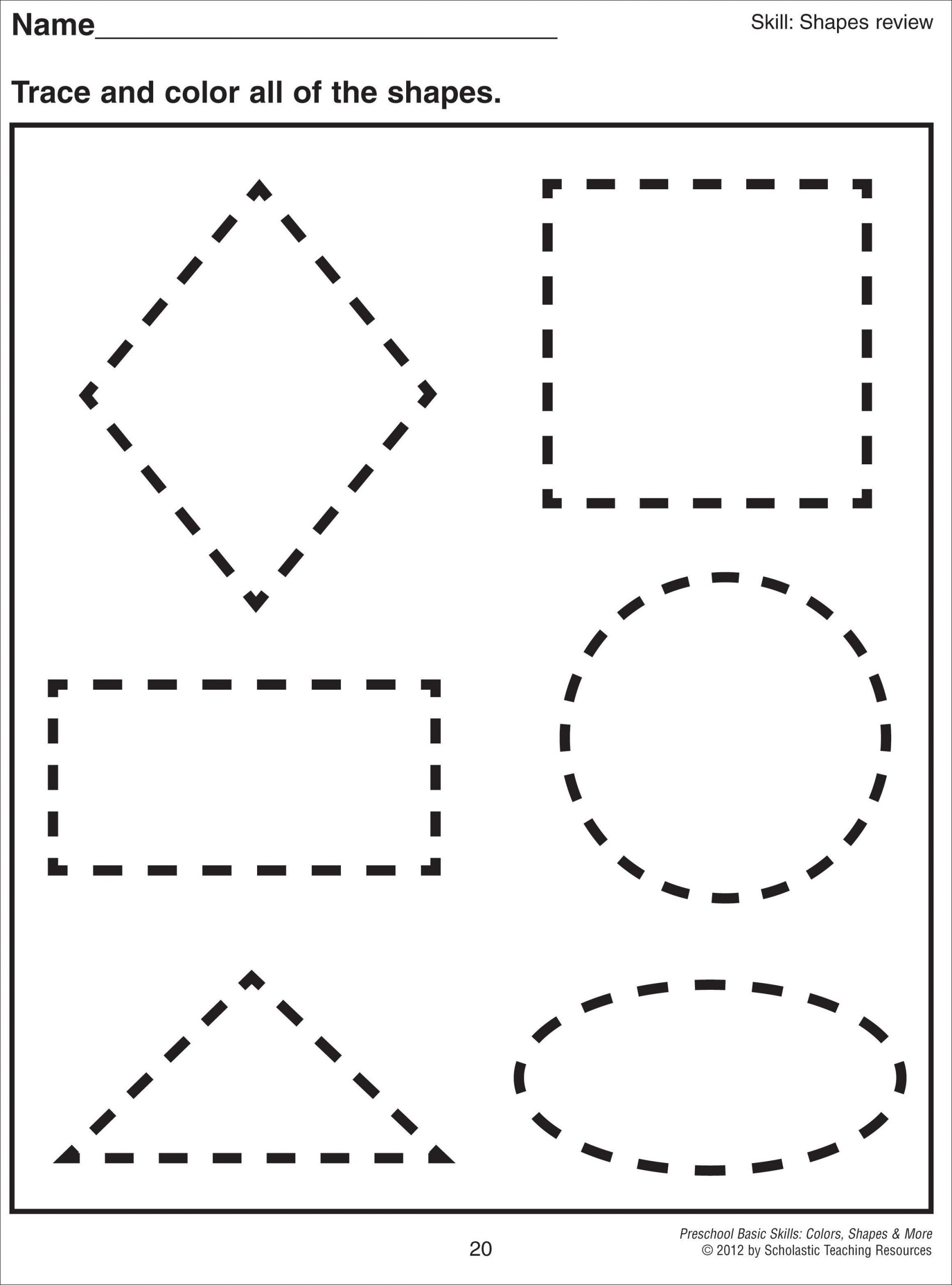 Free Printable Tracing Shapes Worksheets Math Worksheet 1000 Images About Preschool Shapes On