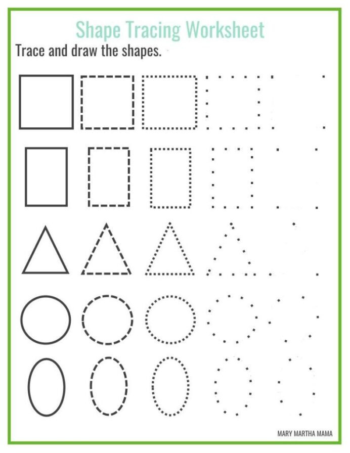 Free Printable Tracing Shapes Worksheets Shapes Worksheets for Preschool Free Printables Shape