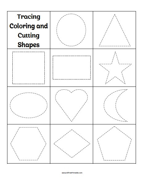 Free Printable Tracing Shapes Worksheets Tracing Coloring Cutting Shapes Worksheets Free Printable
