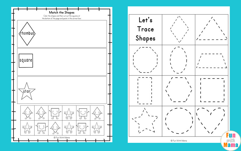 Free Printable Tracing Shapes Worksheets Tracing Shapes Worksheets Fun with Mama