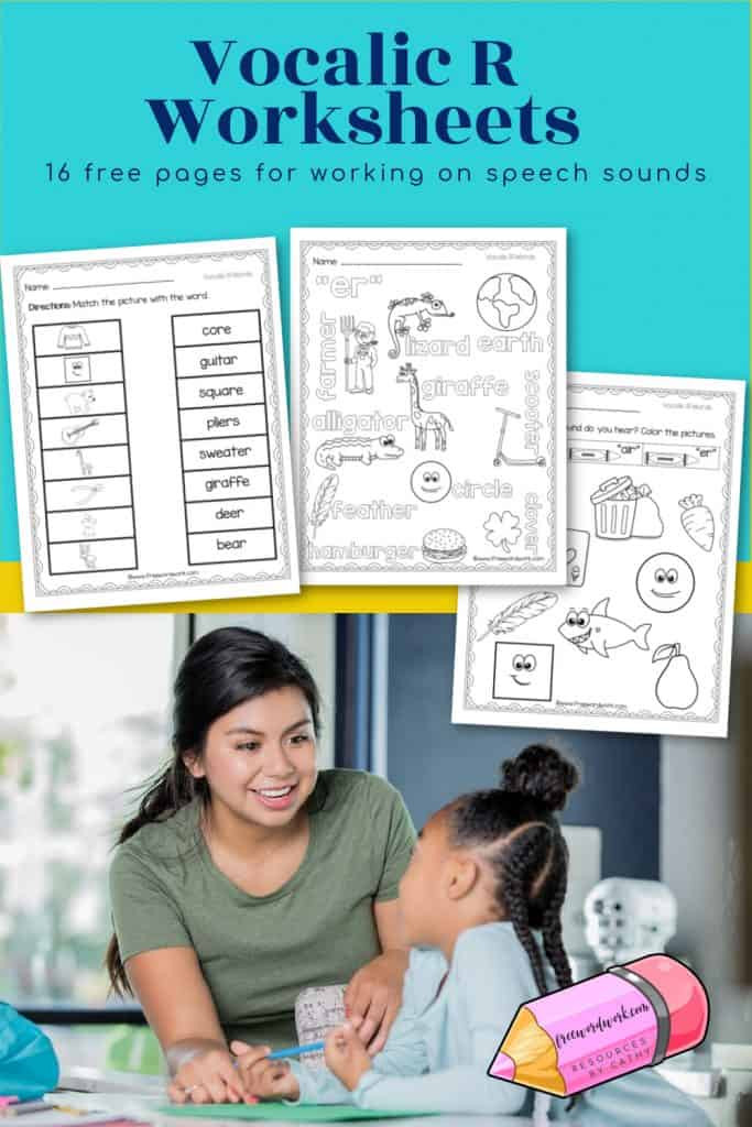 Free Printable Vocalic R Worksheets Vocalic R Worksheets for Speech Free Word Work