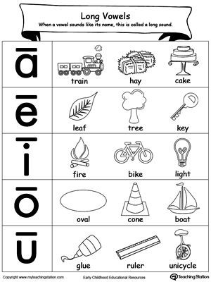 Free Printable Vowel Worksheets Long Vowels sound Picture Reference