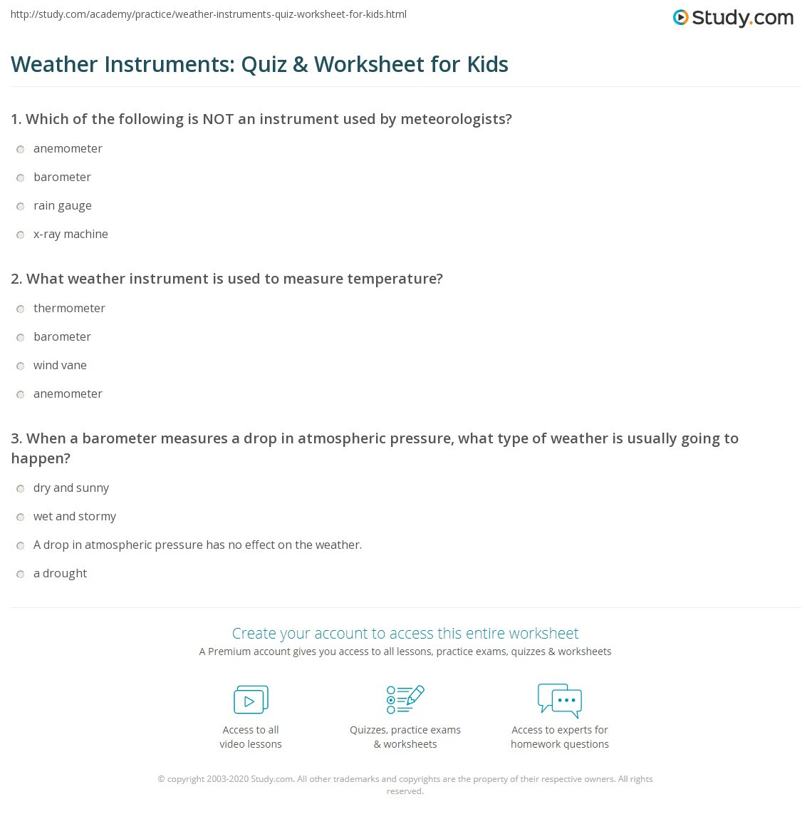 Free Printable Weather Instruments Worksheets Weather Instruments Quiz & Worksheet for Kids