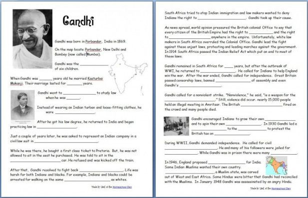 Free Printable World History Worksheets Free Printable Gandhi Worksheet and Other Worksheets ats
