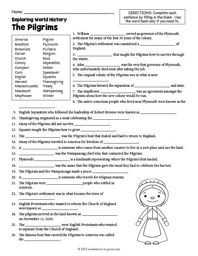 Free Printable World History Worksheets Free Printable the Pilgrims History Worksheet