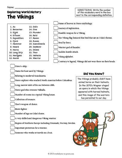 Free Printable World History Worksheets Free Printable the Vikings History Worksheet