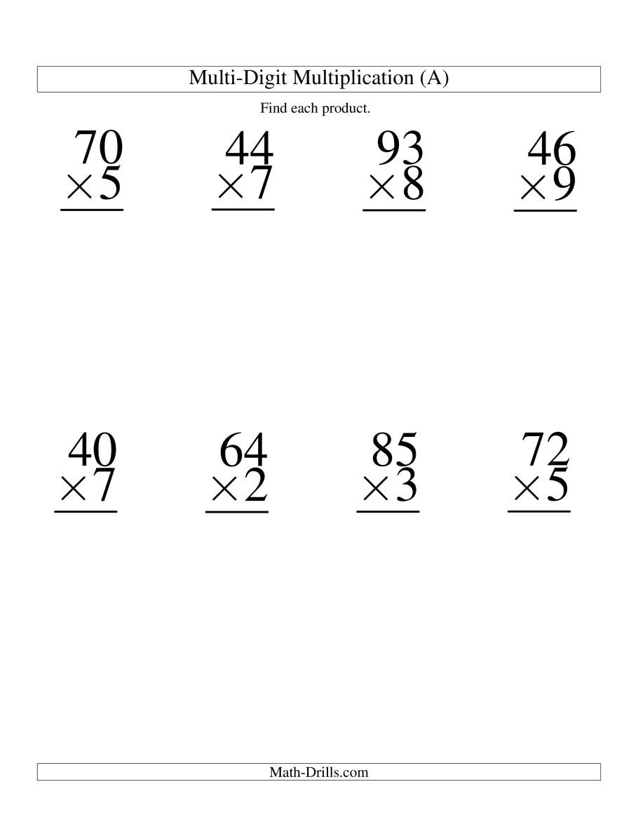 Free Single Digit Multiplication Worksheets Multiplying Two Digit by E Digit 8 Per Page A