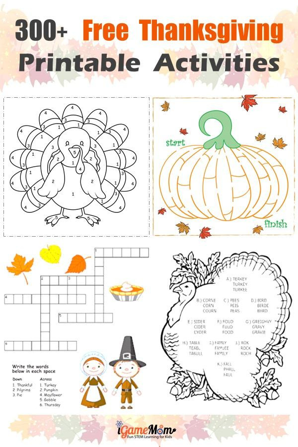 Thanksgiving free printable learning activities