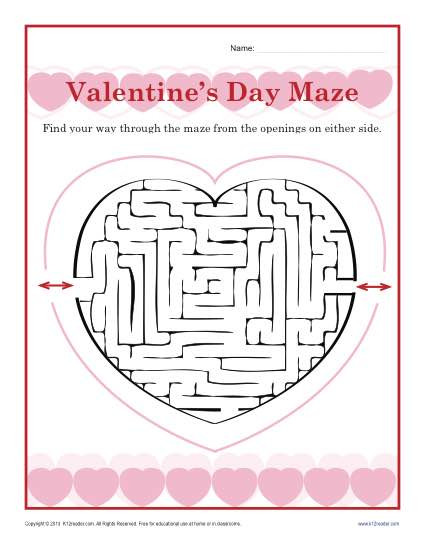 Free Valentine Printables Worksheets Valentine Worksheet Maze Kindergarten and 1st Grade