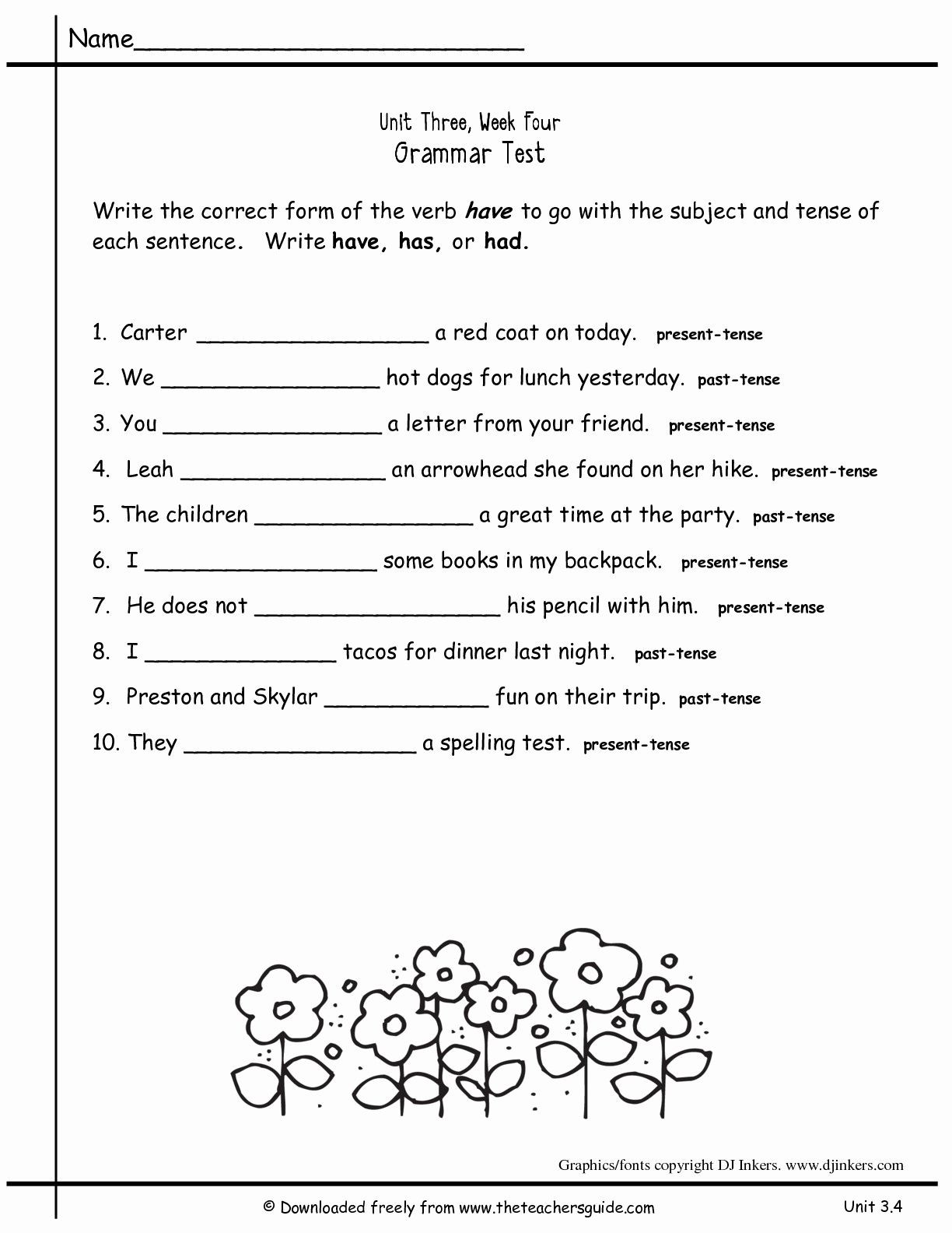 Grammar Worksheets 2nd Grade Printable 2nd Grade Grammar Worksheets Pdf New Worksheets for All