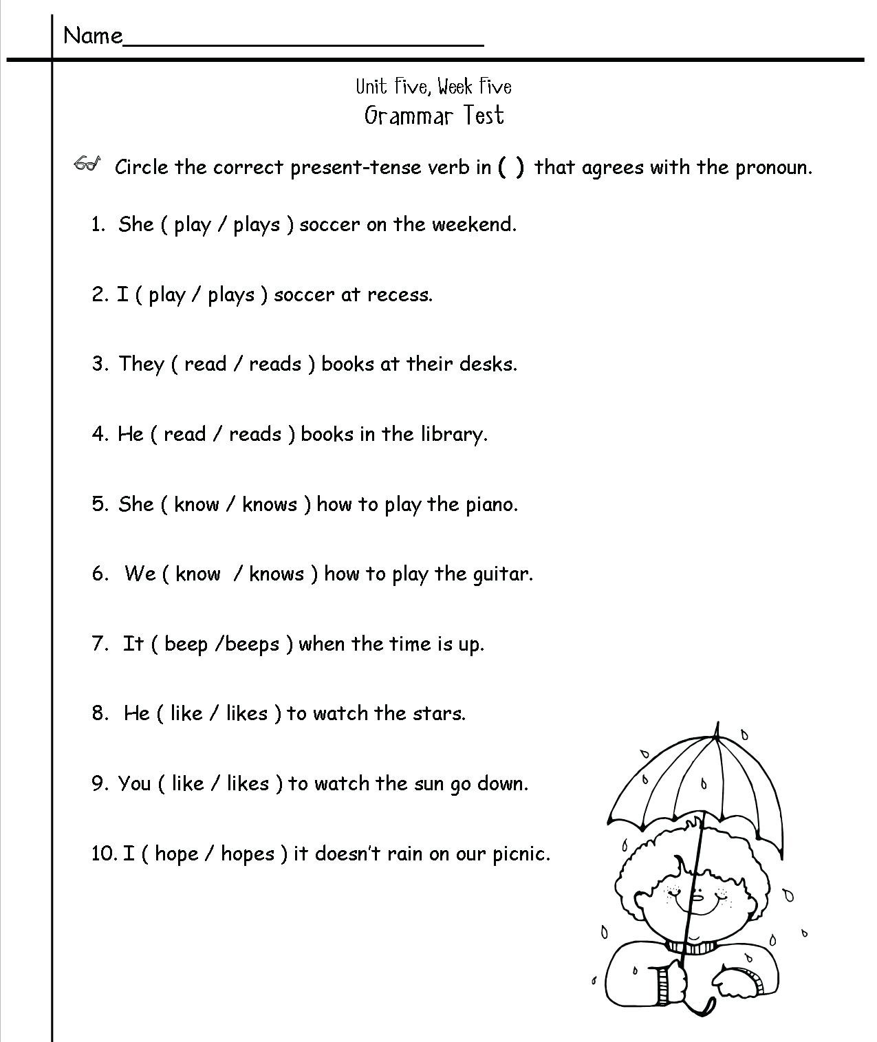 Grammar Worksheets 2nd Grade Printable English Grammar Worksheet for Std Reading Worksheets 2nd