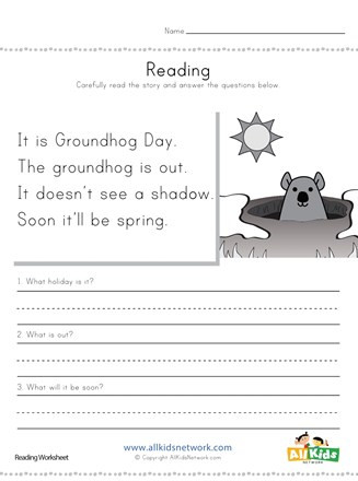 Groundhog Day Printable Worksheets Groundhog Day Reading Prehension Worksheet