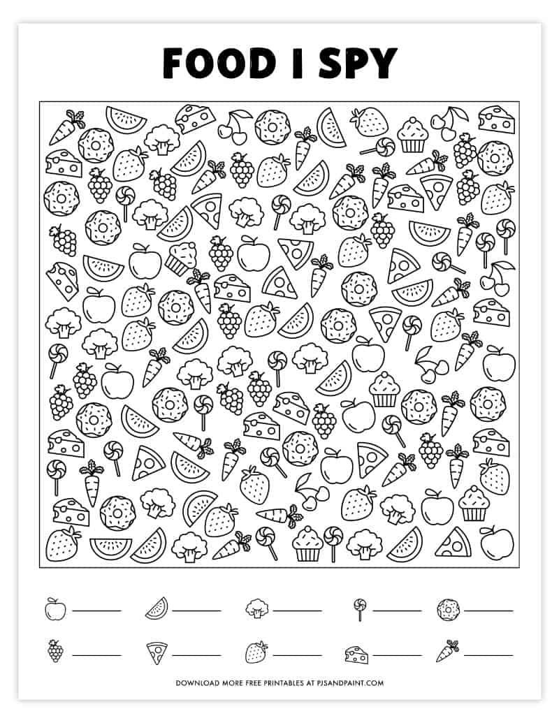 I Spy Printables Worksheets Free Printable I Spy Game – Food themed I Spy In 2020
