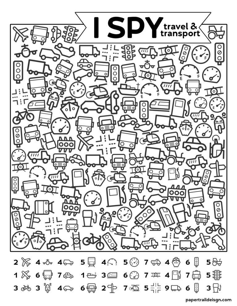 I Spy Printables Worksheets Free Printable I Spy Road Trip Activity Travel & Transport