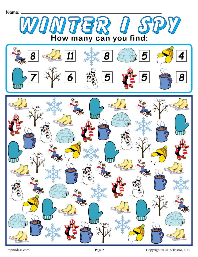 I Spy Printables Worksheets Winter I Spy Printable Winter Counting Worksheet