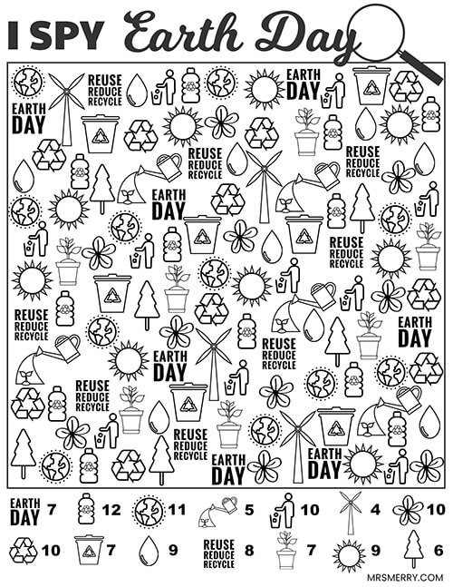 I Spy Worksheets Printable I Spy Earth Day Free Printable Mrs Merry