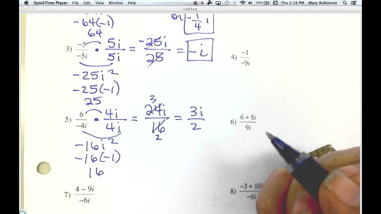 Imaginary Numbers Worksheet with Answers Rationalizing Imaginary Denominators