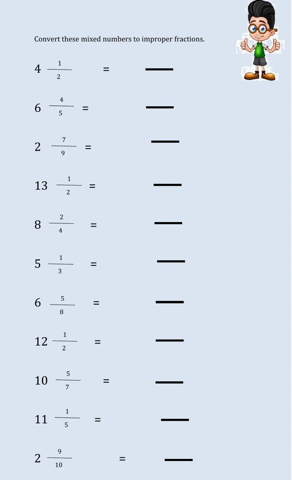 Improper to Mixed Number Worksheet Converting Mixed Number to Improper Fraction Worksheet