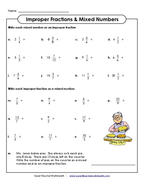 Improper to Mixed Number Worksheet Improper Fractions Mixed Numbers Worksheet for 3rd 6th Grade