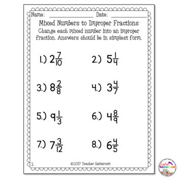 Improper to Mixed Number Worksheet Mixed Numbers to Improper Fractions Worksheet